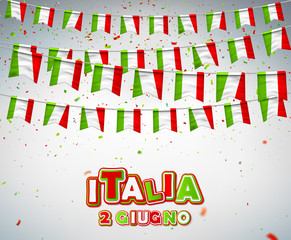 Greeting card for Italian national celebration. 2 of June, Italian Republic Holiday. Colorful flags of Italy with confetti. Festive garlands of pennant. Vector banner for party, conference