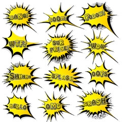 Collection of templates speech bubbles in pop art style. Elements of design comic books. Set of yellow starburst with different emotions and sound effects. Colored vector stickers.