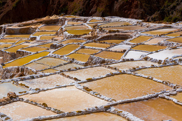 Salt Mines at Maras in Sacred Valley of Peru (Salineras)