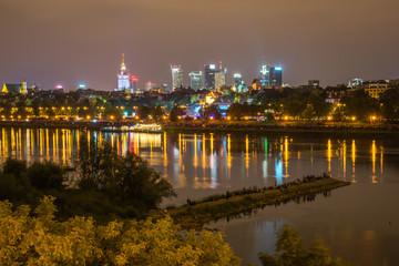 Warsaw and Vistula river at night, Poland