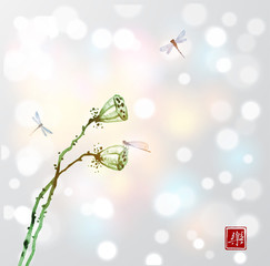 Two green seed heads of a dry lotus flower and dragonflies on white glowing background. Contains hieroglyph - happiness. Traditional oriental ink painting sumi-e, u-sin, go-hua