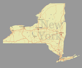 New York city accurate vector exact detailed State Map with Community Assistance and Activates Icons Original pastel Illustration. United States of America