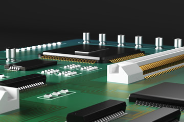 Green motherboard closeup