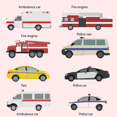 Vector set of the isolated transport icons. Fire truck, ambulance, police car.