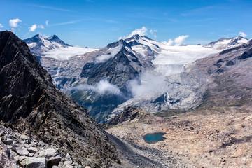 Lobbie and Mandrone glaciers seen from Presena