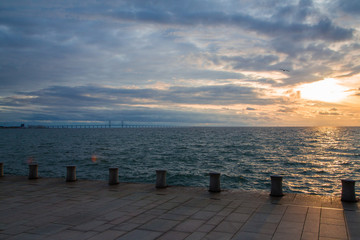 Oresunds bridge at sunset from the swedish side over to Denmark