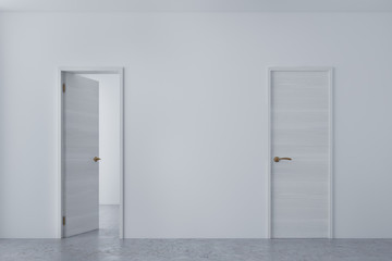 White room with empty and closed doors