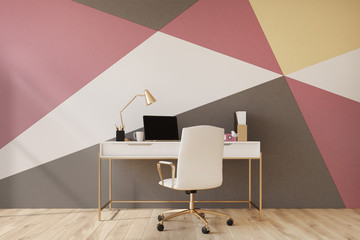 Black, red, yellow and white home office