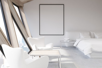 White bedroom in an attic, poster, closeup