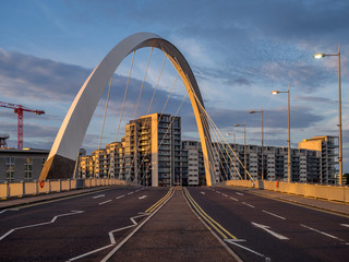 Clyde Arc Bridge and Buildings along Clyde River in Glasgow United Kingdom