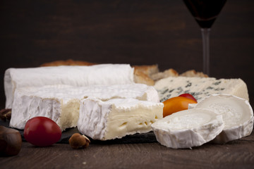 Variety of French cheeses with wine