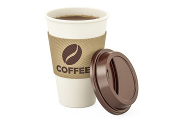 Disposable cup of coffee, 3D rendering