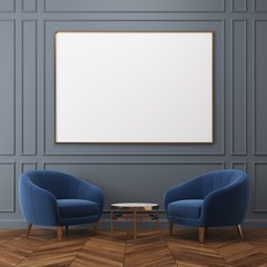Gray living room, blue armchairs, poster