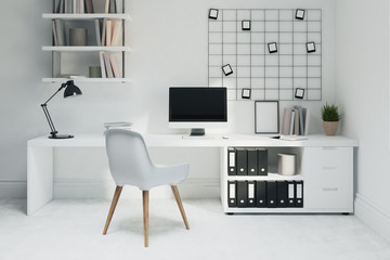White home office, white chair