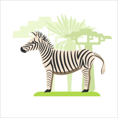 Image in a flat style, a zebra cartoon on the grass and in the background grow trees
