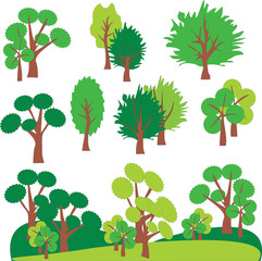 Vector graphic set  with Tree. Clip Art