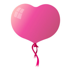 Heart balloon isolated on white background. Vector illustration.