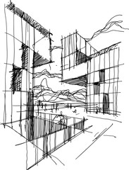 hand drawn architectural sketch of a modern abstract architecture with people around