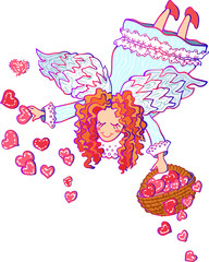 Vector colorful illustration of angel Valentine