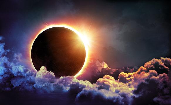 Solar Eclipse In Clouds