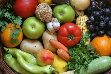 Top view of fruits and vegetables; close up, selective focus.