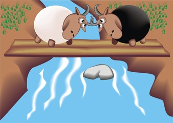 Two rams on the bridge