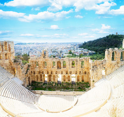 Fototapete - cup of Herodes Atticus amphitheater of Acropolis, Athens, Greece, retro toned