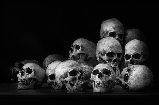 Genocides, Stacked human skulls at the Killing Fields, Black and White Tone