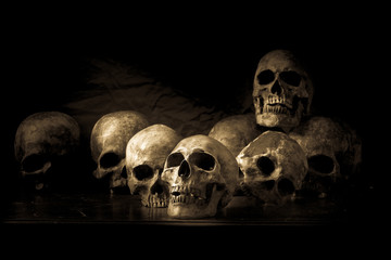 Genocides, Stacked human skulls at the Killing Fields, Sepia Tone Wall mural