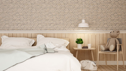 bedroom with kid space and brick wall in home or apartment - 3D Renderinig