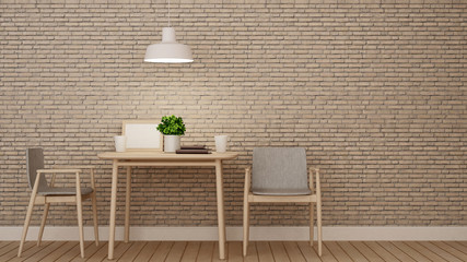 dining room or restaurant on brick wall decoration - 3D Rendering