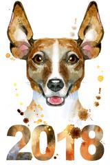 Watercolor portrait of jack russell terrier