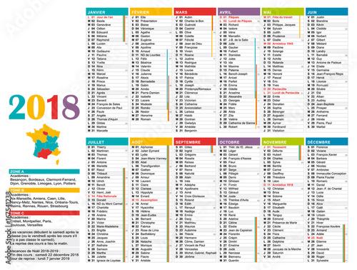 Calendrier annuel 2018 multicolore fran ais 12 mois en for Jours de conges pour demenagement