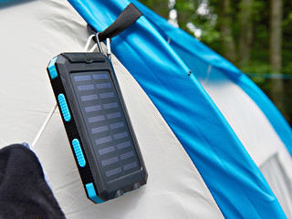 Hiking portable battery with solar panels