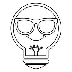 bulb light with glasses kawaii character vector illustration design