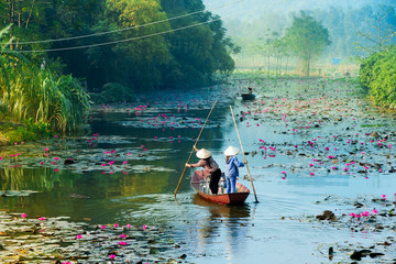 Yen stream on the way to Huong pagoda in autumn, Hanoi, Vietnam. Vietnam landscapes. Wall mural