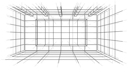 Wireframe Interior. Sketch Style. Vector