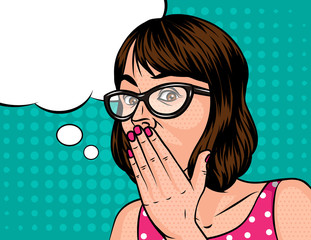A Girl with a short hair in shocked emotion. Woman in glasses holds a hand near the mouth . The girl opened her mouth in surprise. Surprised  face with speech bubble on background of pop art style