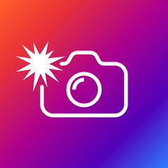 Camera flash rounded icon. Vector illustration style is flat iconic symbol white color on the color background.