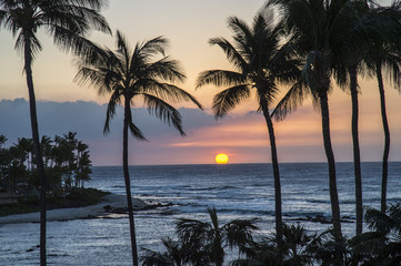 Waikoloa resort sunset, Hawaii island