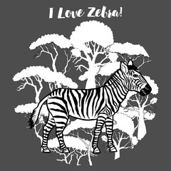 Zebra and savanna trees print