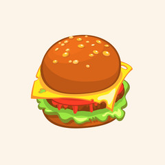 Cartoon Cheeseburger. Vector drawing of hamburger. Hamburger illustration.