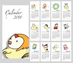 Calendar Planner Template. 2018 year. Week Starts Sunday. Chick, character cute design.