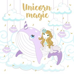 Cute unicorn on a beautiful background with an inscription. Vector illustration.