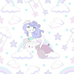 Seamless pattern with cute unicorn. Beautiful background. Vector illustration.