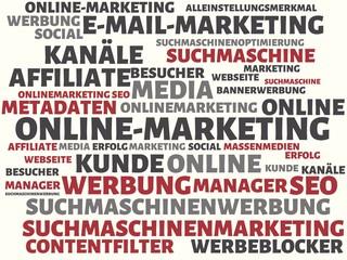 ONLINE-MARKETING - Bilder mit Wörtern aus dem Bereich Onlinemarketing, Wort, Bild, Illustration
