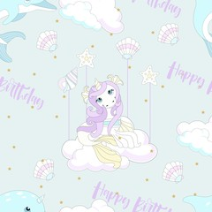 Seamless pattern with cute unicorn. Beautiful background with clouds. Vector illustration.