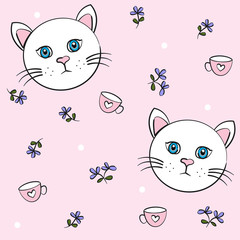 seamless pattern with cat, flower and tea cup, vector design