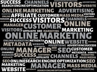 ONLINE MARKETING - image with words associated with the topic ONLINE MARKETING, word, image, illustration