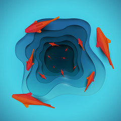 Paper cut cartoon red fish on water in polygonal trendy craft style. Modern origami design. Concept background for poster, greeting card, banner. Vector illustration.